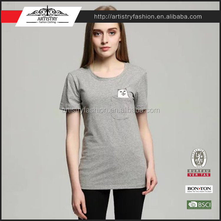 Summer T-shirt Women Casual Lady Top Tees Cotton T shirt Female Brand Clothing T Shirt Printed Pocket Cat Top Cute Tee