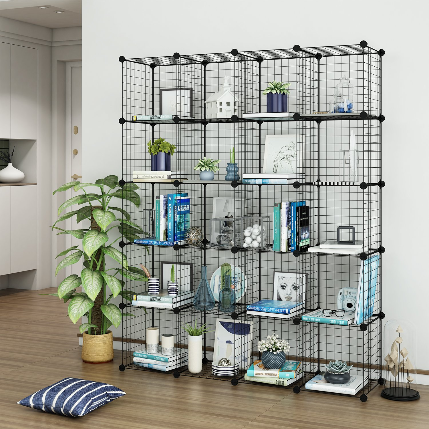 Get Quotations · Tespo Wire Cube Storage Shelves Book Shelf Metal Bookcase  Shelving Closet Organization System DIY Modular Grid