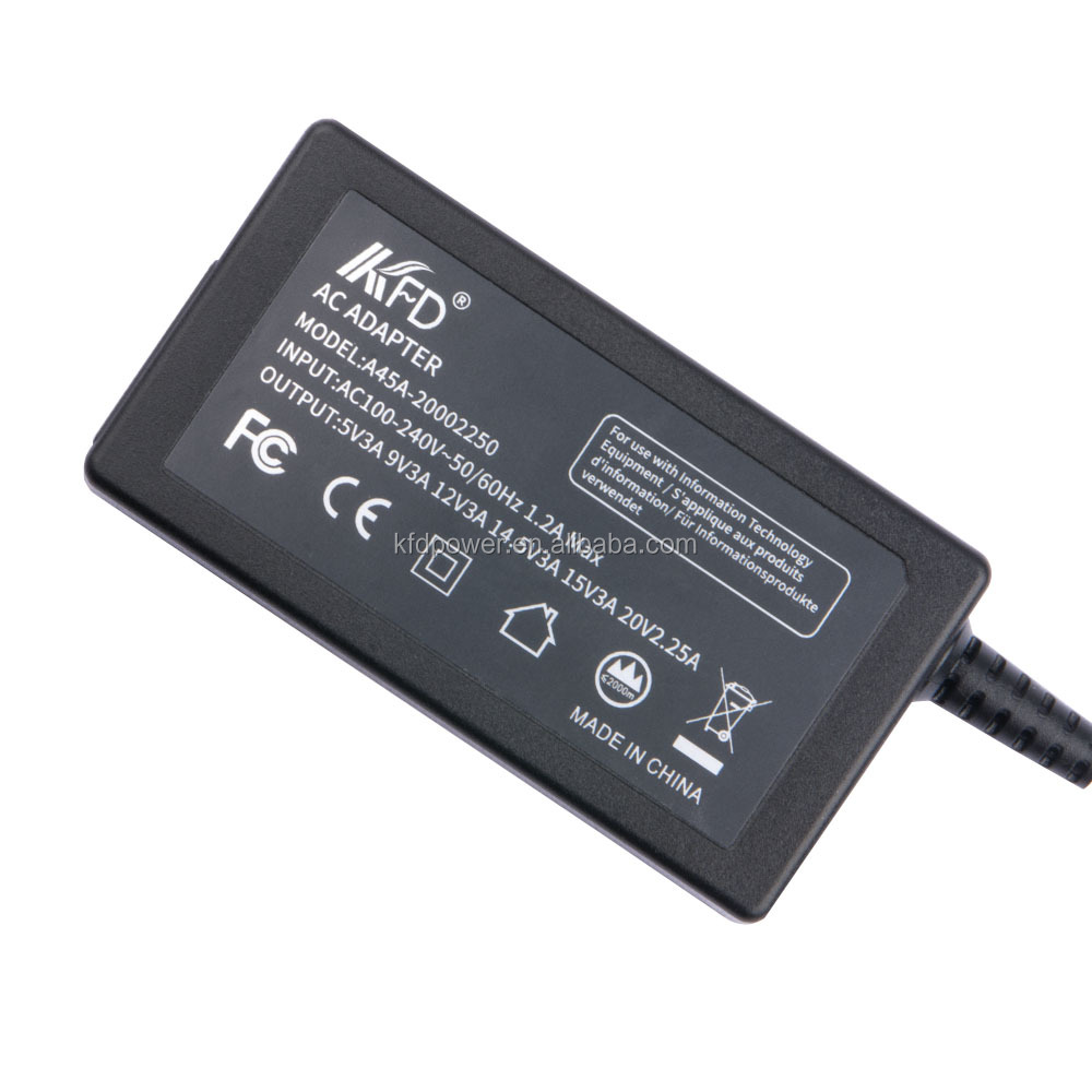 UL CE FCC  45 Watts Quick charge USB-C TYPE C Charger Adapter with Auto change different output voltages