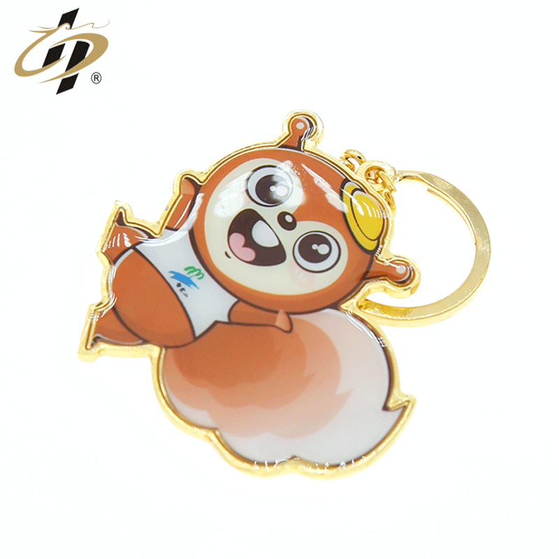 Factory direct supply cheap zinc alloy custom Epoxy Stickers Cute squirrel keychain