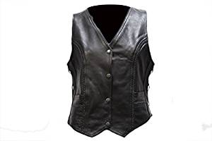 Dream Apparel Women's Leather Vest With Side Laces & Multi Pockets Inside & Outside LV221-11-5xl