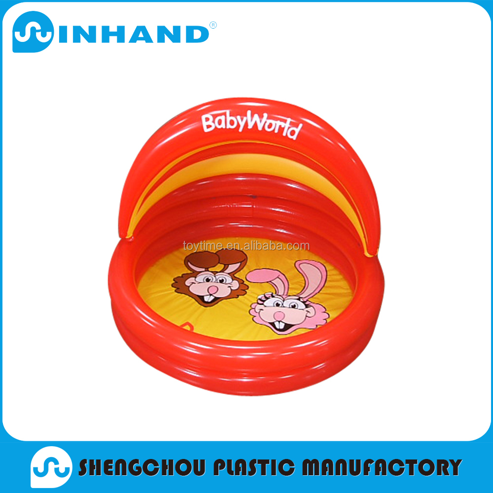 Hot Item Red Fashion Eco-friendly Round Safe PVC Inflatable Baby Pool With Cushion