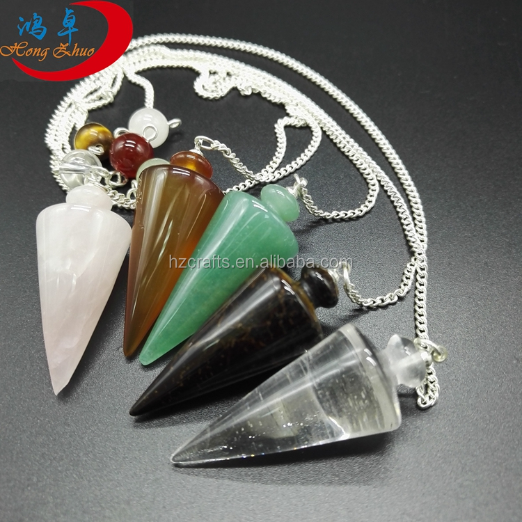 Pendulum Crystal Rose Quartz Pendulum for Healing Dowsing Reiki Gemstone Healings