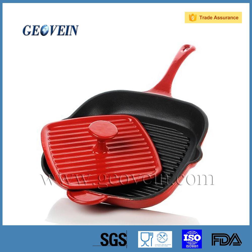 Alta calidad de hierro fundido sartenes cuadrados con - Sartenes hierro fundido ...