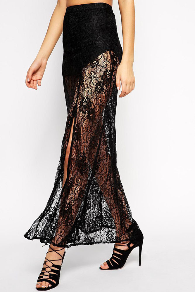 c68a0d0ef0 Get Quotations · new 2015 novelty skirt long skirt Sexy High Waist Black  Floral Lace Sheer Maxi Skirt LC71101