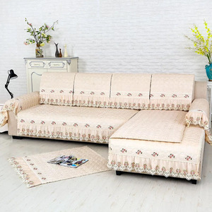 Can be customized high two seats embroidery lace sofa cover