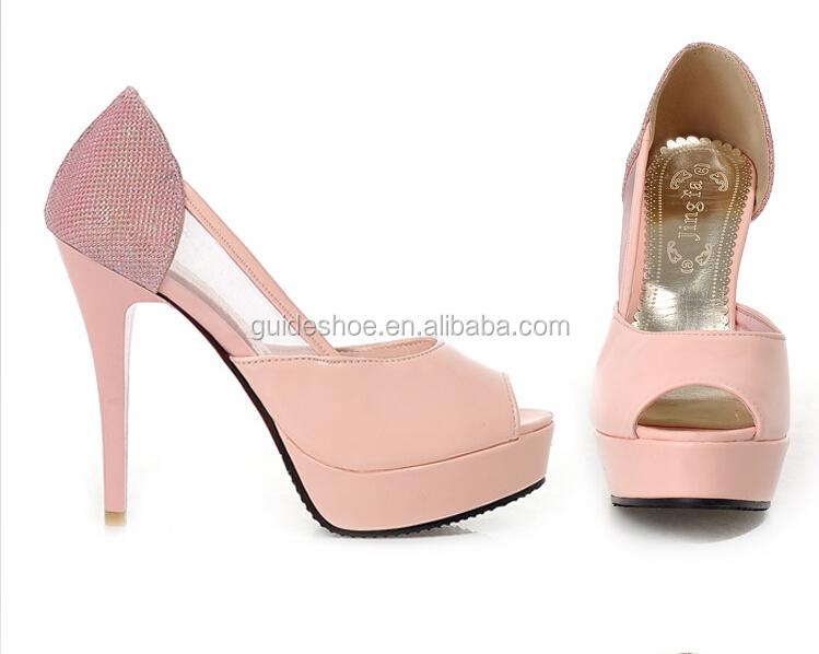 Pink Wedding Shoes Peep Toe High Heel Mature Italian Bridal