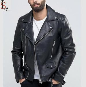 2019 Expensive new tide fashion style black leather jacket coat men biker motorcycle jackets with belt