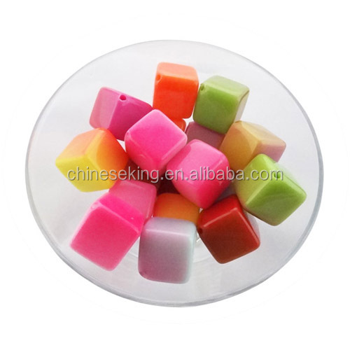 Children square candy plastic bead custom squqre candy acrylic loose beads for children jewelry accessories
