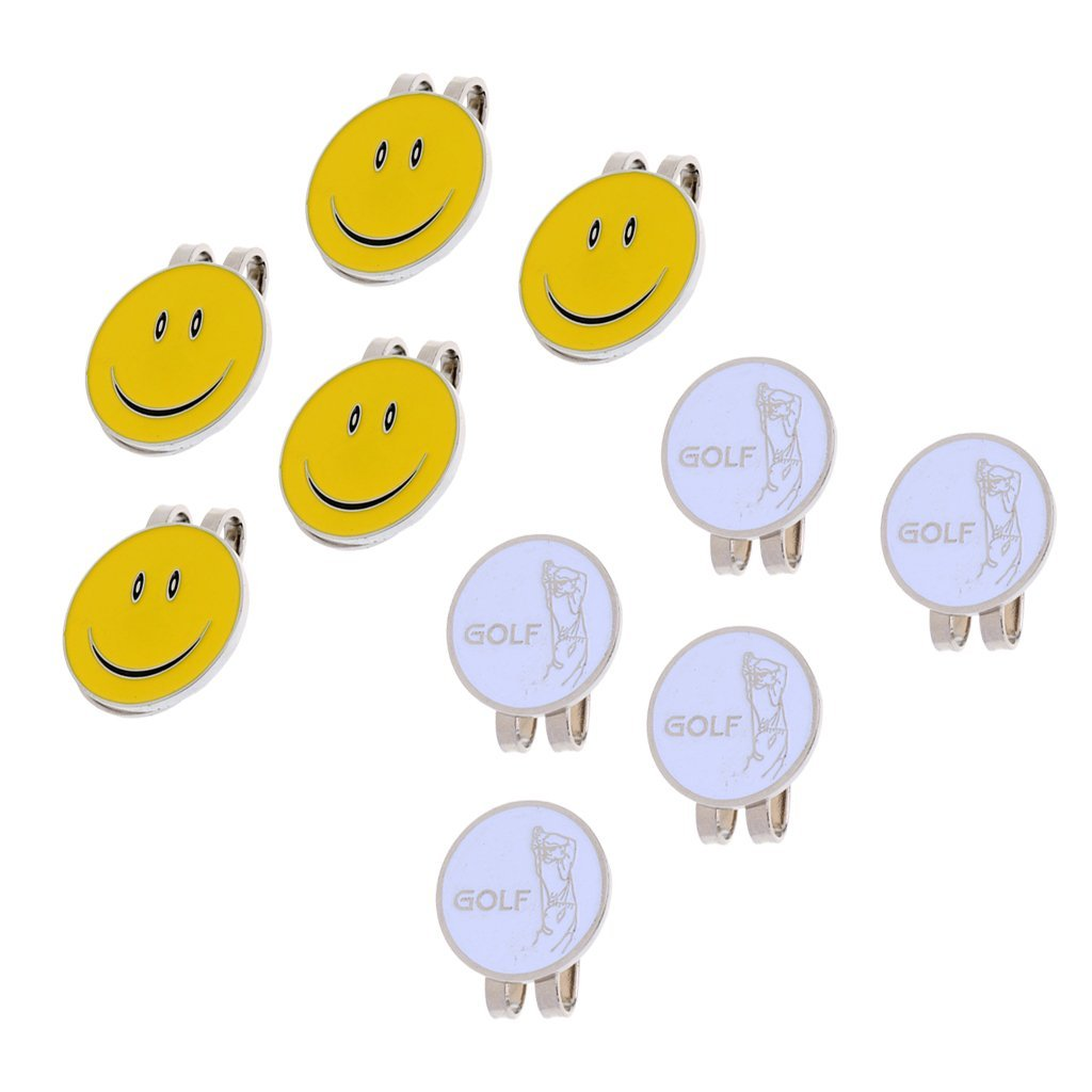 MagiDeal 10 Pieces Smiling Face Golfer Magnet Cap Clip Golf Ball Markers Presents