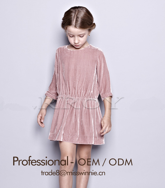 22aca6f15e Latest girls  velvet pink dress frock design with long sleeve for 2-12  years old girls dress manufacture