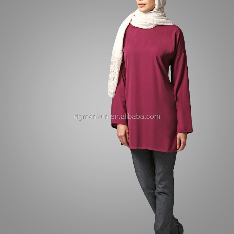 Modest Classical Style Basic Wear Two Way Tunic Long Sleeve Elegant Muslim Women Tops Islamic Clothing