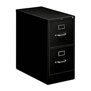"HON 210 Series Locking Vertical Filing Cabinets-Letter File, 2 Drawer, 15""Wx28-1/2""Dx29""H, Black"