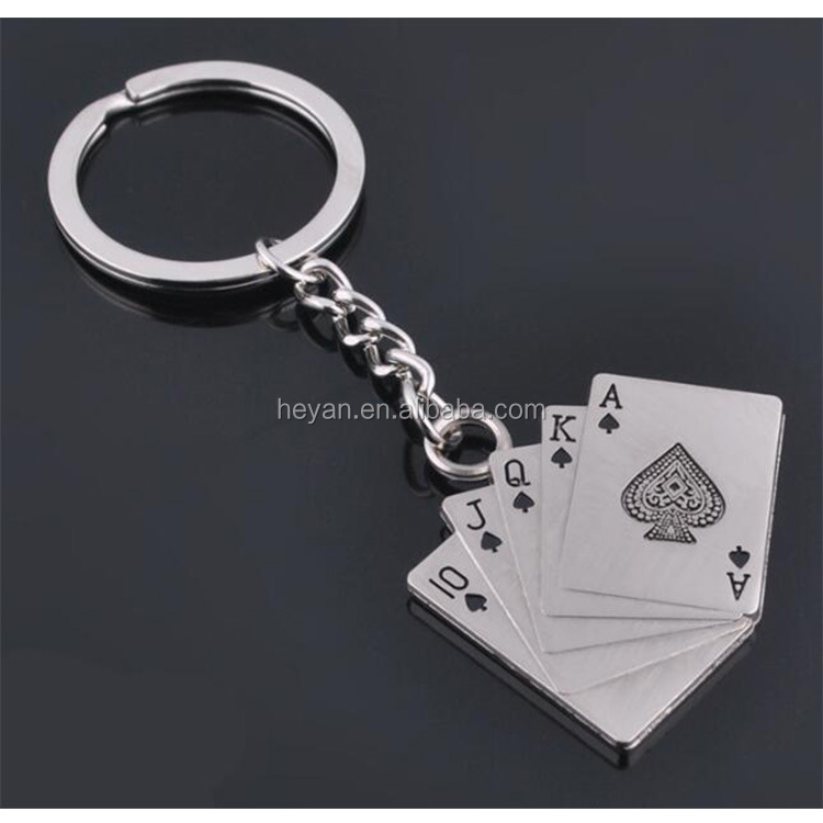 Fashion New Creative Poker Playing Card Shape Metal Keychain
