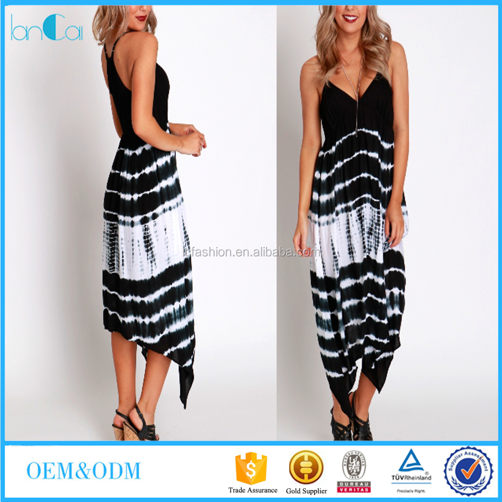 Sexy Women Spaghetti Strap Tie Dyed African Design Maxi Dress