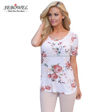 White super soft crisscross neck wholesale floral printed t shirt