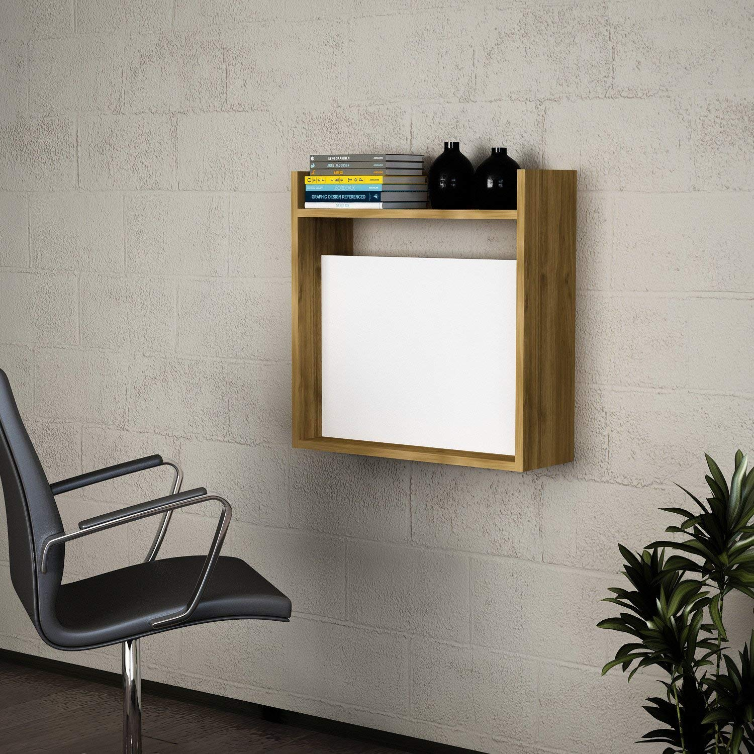 Writing Computer Desk Modern & Simple White-Brown Wall Shelf Wooden Book Resistant Study Desk Industrial Style Study & Laptop Table Home, Office, Living Room, Study Room Laptop - White, Walnut