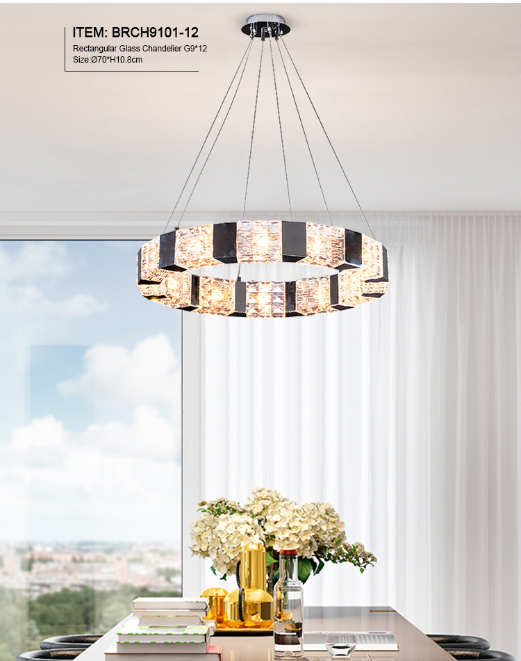 Round Glass Chandelier for Living Room Lighting Crystal Pendant Light Fixtures