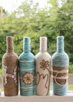 Natual Jute Twine Design Diy Gift Glass Bottle Blue Home Kit Buy