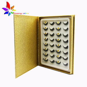 Wholesale mink eyelashes custom packaging box 16 pairs lashes plastic tray book with your logo