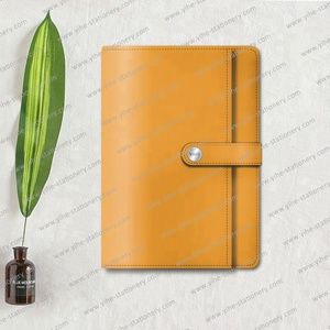 PU diary planner custom with insert pocket and kraft internal notebook loose leaf jounral notebook with snap fastener