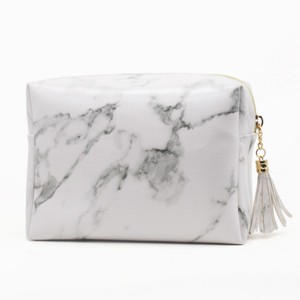 2018 hot selling PU marble cosmetic bags,wholesale custom portable travel makeup pouch with tassel