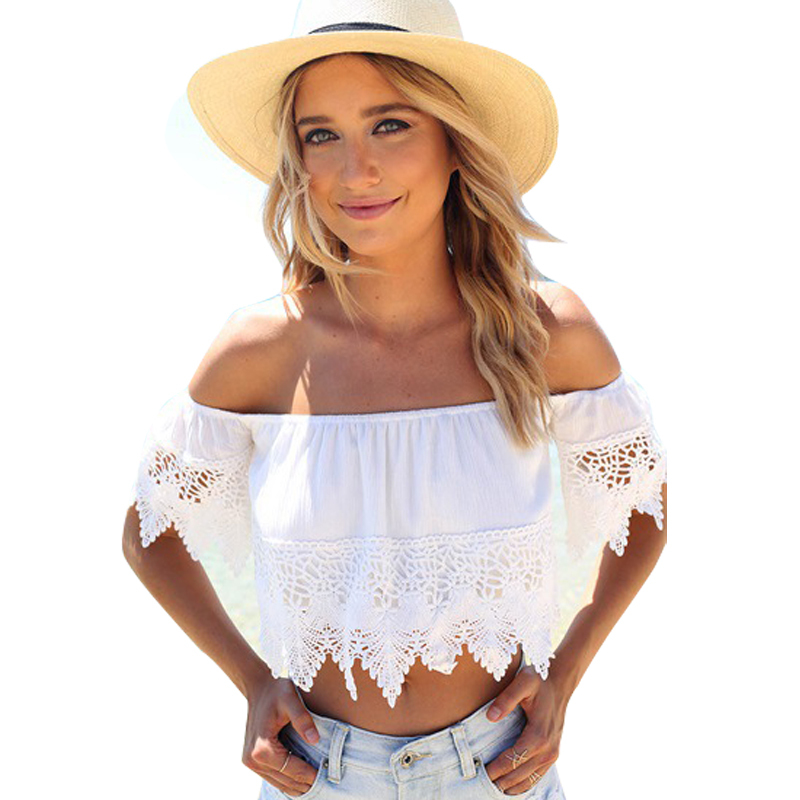 2015 Women Sexy Crop Tops Hollow out Lace Slash Neck Slim Cropped Top Lace Crochet Cami Tank White Lace Women Tops Plus Size
