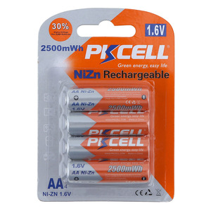 New high quality rechargeable ni-zn aa 2500mah 1.6v battery