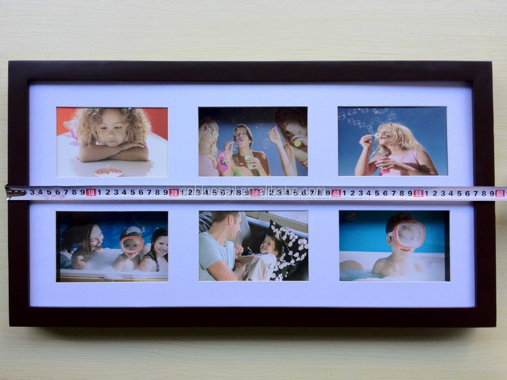 30x57cm Kiefernholz Multi Frame,Braun Collage Bilderrahmen,6 Öffnung ...