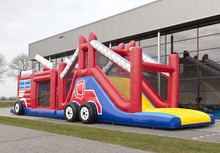Great construction truck inflatable bounce house of obstacle run fire truck outdoor or indoor obstacle course for adults or kids