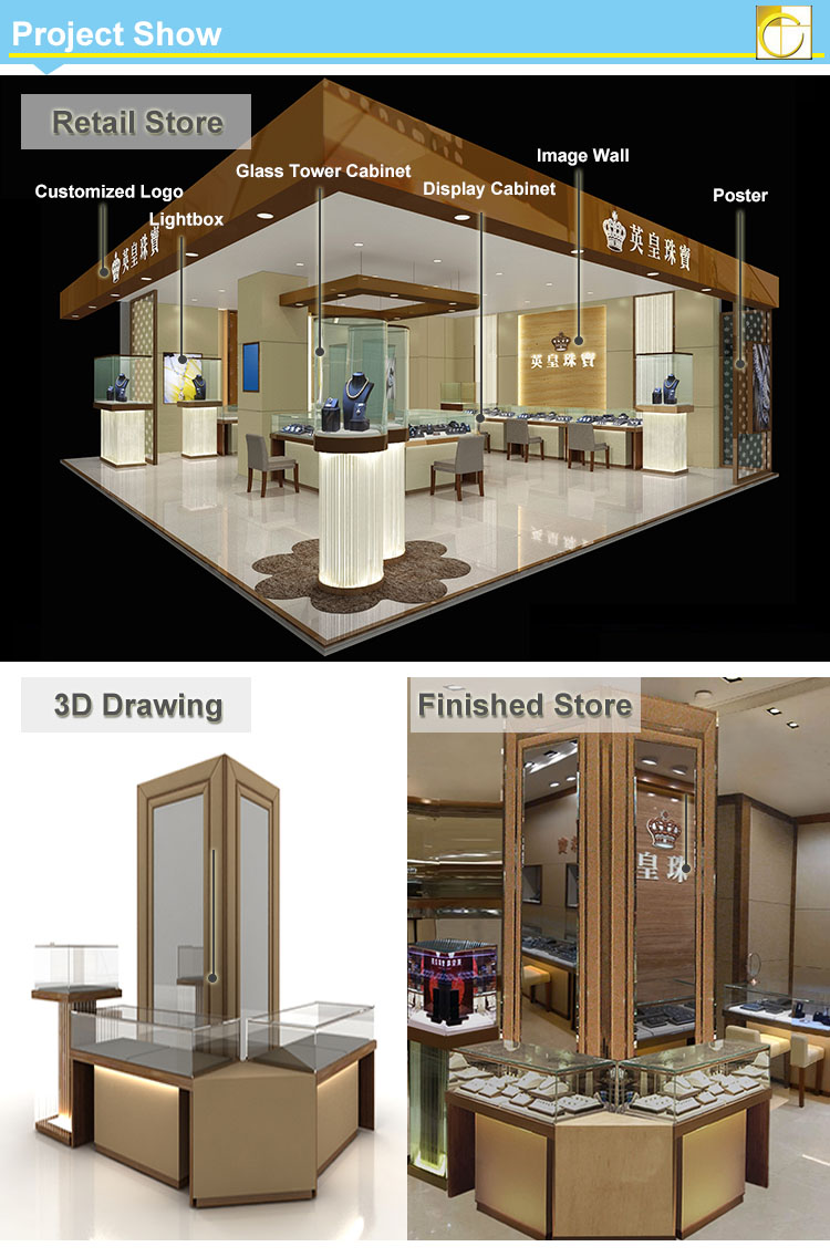 Tempering Glass Jewelry Display Showcase For Jewellery Showroom ...