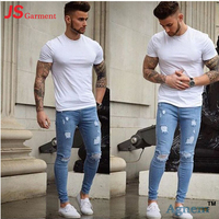 C44003 Latest Western Design Casual Skinny Denim Pants Fashion Damaged Jeans Men