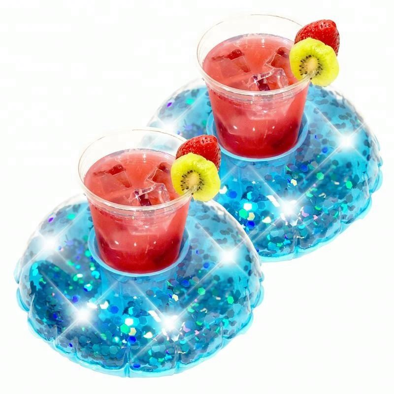 Pvc Inflatable Glittering Pool Floating Beer Drink Can Holder Floats