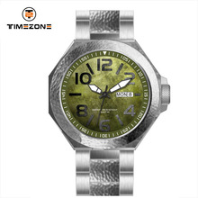2017 Timezone brand all stainless steel men's vitage watches with week
