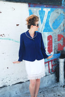 White and navy casual Polyester Classic Women suit jacket styles w ladies office skirt suit