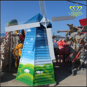 Outdoor garden decoration Animation fiberglass resin windmill sculpture