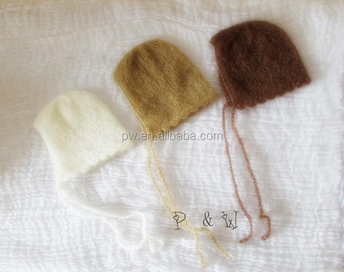 Envío Libre Niños Crochet Knit Mohair Capó Bebé Fotografía Props ...