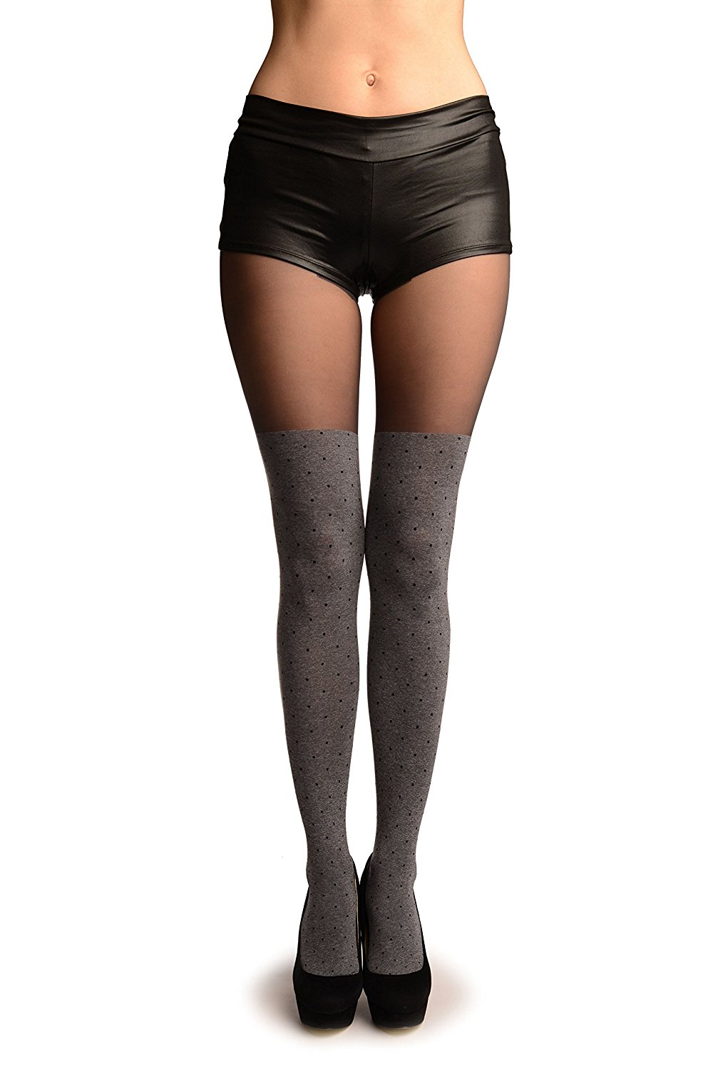 16c3bd207 Grey With Black Polka Dots Faux Stockings With Sheer Top Tights - Pantyhose  (Tights)