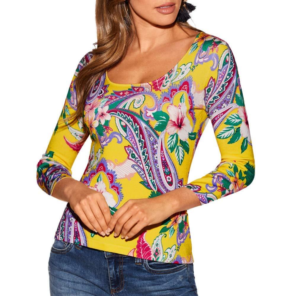 Women's 3/4 Sleeve Round Neckline Slim Boho Print Tops T-Shirt Blouse