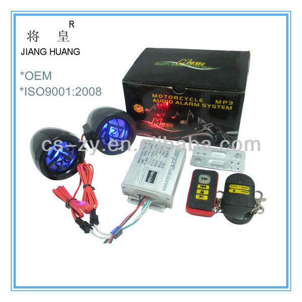 Waterproof motorcycle mp3 audio anti-theft alarm system