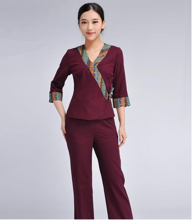 Fashion design wholesale price spa beauty salon uniform for Spa uniform female