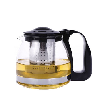China manufacturer supply food grade 1000ml heat resistant glass teapot coffee pot with infuser and handle