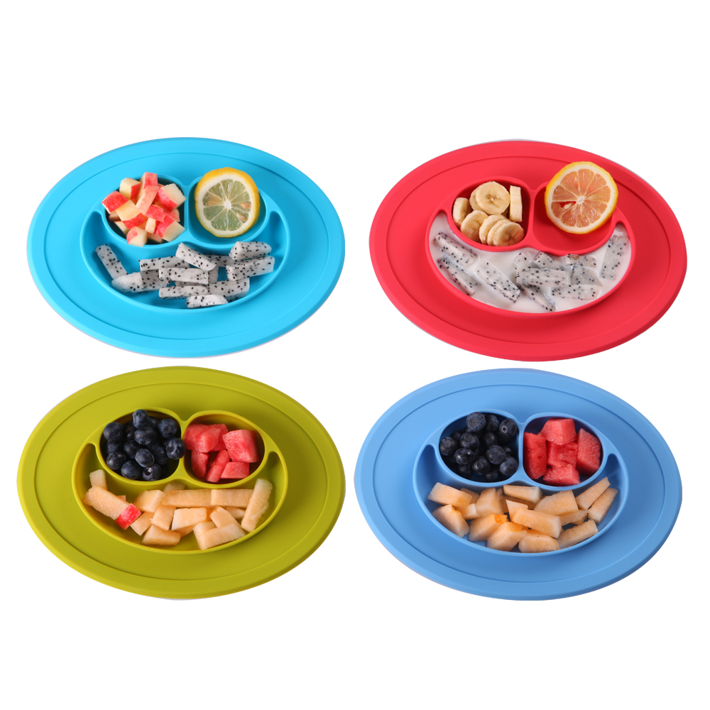 Amazon Hot Sales Smiling Face silicone placemat for <strong>Kids</strong>,Baby silicone placemat