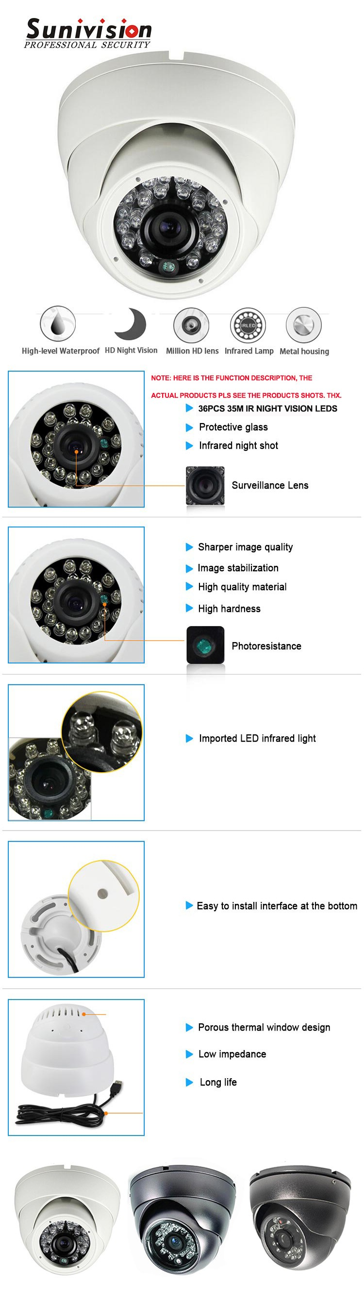 security camera system 4 in 1 AHD + CVI + TVI + CVBS hybred camera 1/4 CMOS 720P 36PCS IR LEDs cctv camera