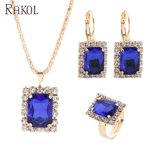 RAKOL Fashion Gold Jewellery Gemstone Bridal Jewelry Set for Women Accessories Gift AS001