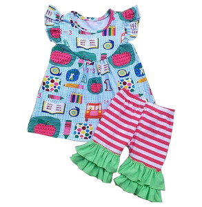 Baby back to school clothes set .baby girl wear print tunic and striped shorts baby summer clothes wholesale