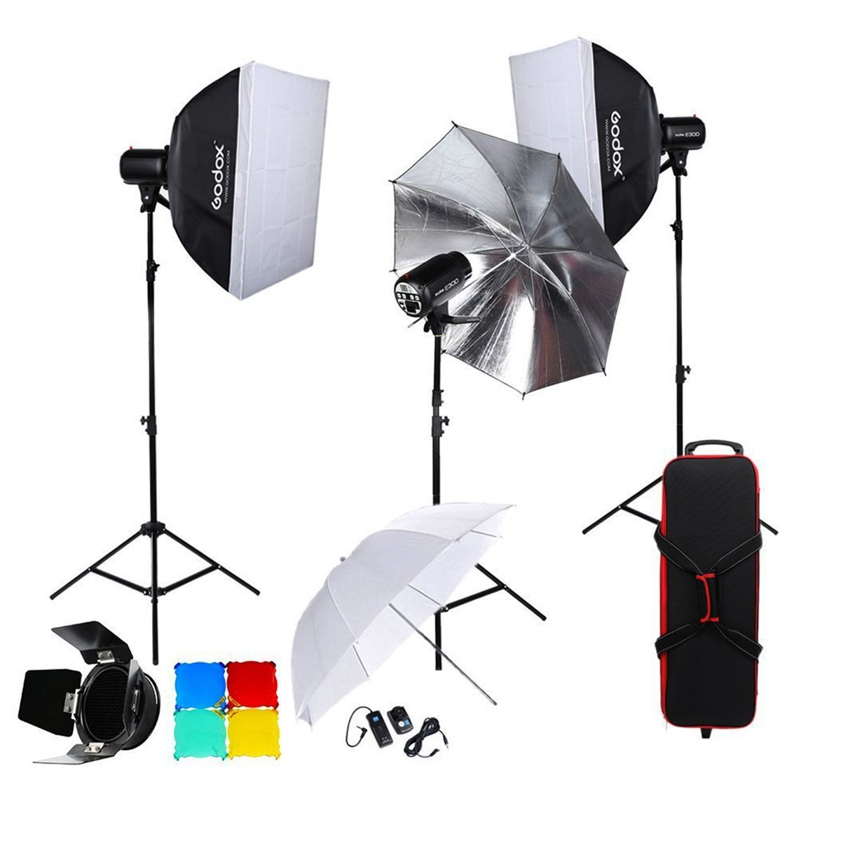 Godox E300 3300W 900W Studio Flash Light Kits with Portable Light Stand, Softbox, Reflector Umbrella, Barn Door Diffuser and RT-16 Wireless Flash Trigger Kits