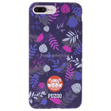 Puzoo Matte feeling i Leaves original phone case for iPhone 7/Plus Purple 5.5 inch mobile phone case