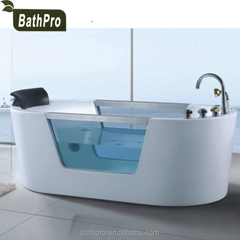 Cheap acrylic corner 1 person jetted bath tub indoor massage bathtub with shower