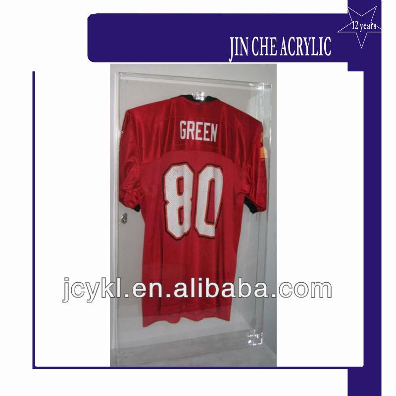 clear acrylic jersey vitrine football baseball basket ball jersey cadre avec serrure support. Black Bedroom Furniture Sets. Home Design Ideas